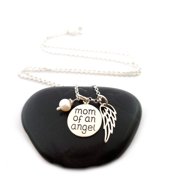 Mom of an Angel Necklace - Sterling Silver Jewelry - Miscarriage Memorial