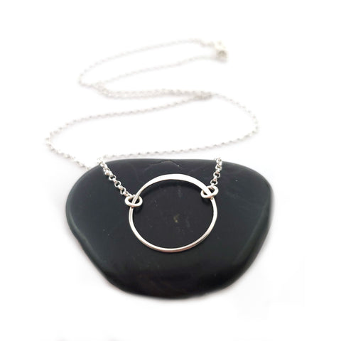 Hammered Circle Charm Necklace - 925 Sterling Silver Jewelry