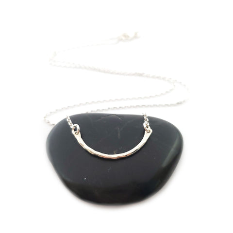 Curved Bar Festoon Necklace - Sterling Silver Jewelry - Gift for Her