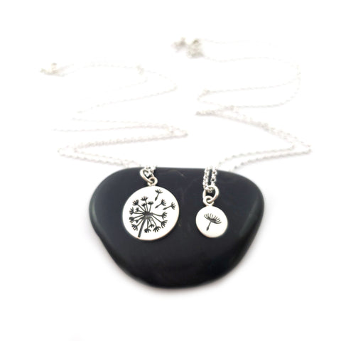 Dandelion Charm Necklace Set - 925 Sterling Silver Jewelry - Mother and Daughter Necklace Set