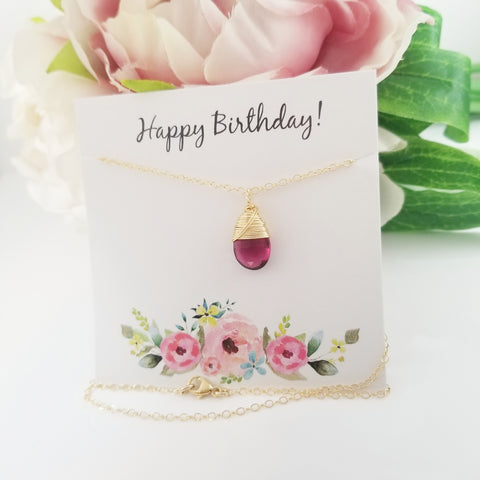 Add a Happy Birthday Card to your Order! - Handprinted Jewelry Insert Card - Gift Wrapping Addition