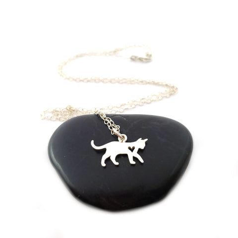 Cat Charm with Heart Cutout Necklace - Sterling Silver Jewelry