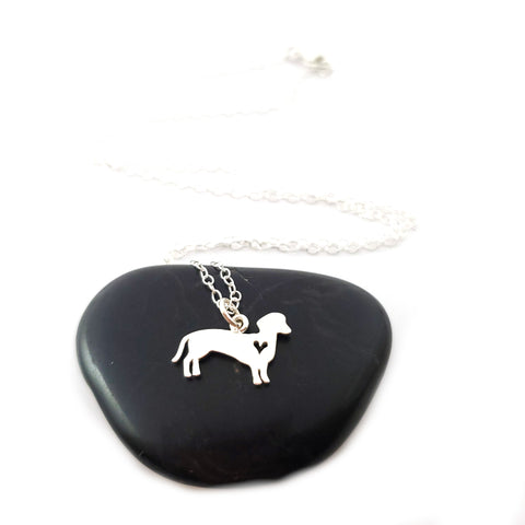 Dachshund with Heart Necklace - Sterling Silver Jewelry