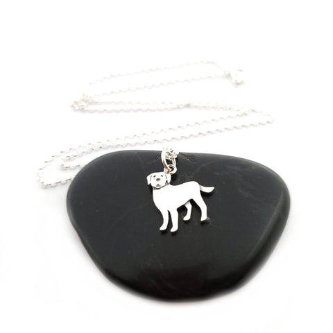 Labrador Dog Charm Necklace - Sterling Silver Jewelry