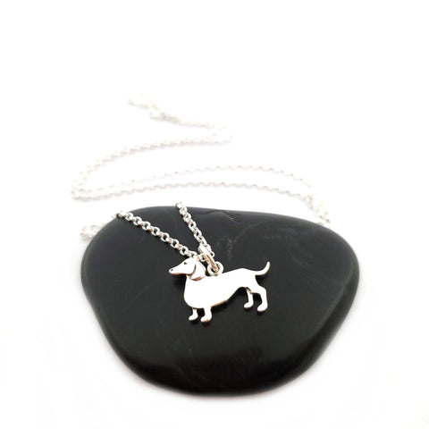Dachshund Necklace - Sterling Silver Jewelry