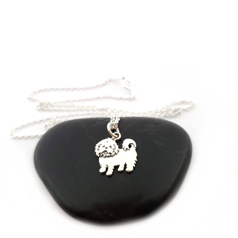 Maltese Dog Charm Necklace - Sterling Silver Jewelry