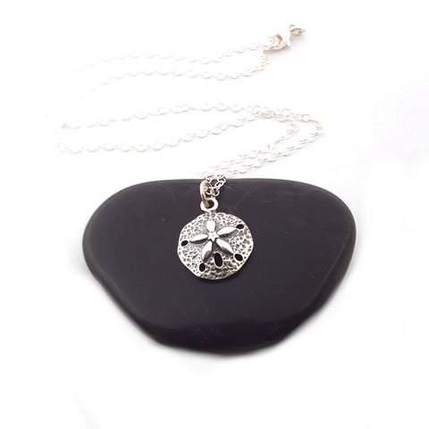 Sand Dollar Charm Necklace - Sterling Silver Jewelry