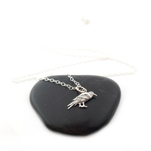 Raven Charm Necklace - Sterling Silver Jewelry