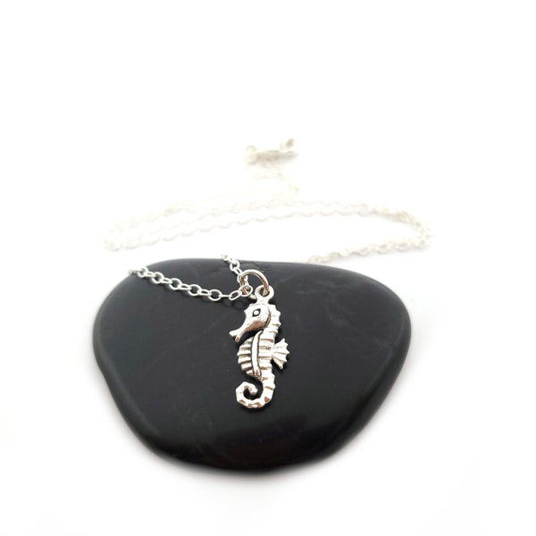 Seahorse Charm Necklace - Sterling Silver Jewelry