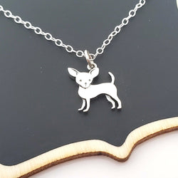 Chihuahua Charm Tiny Sterling Silver Necklace