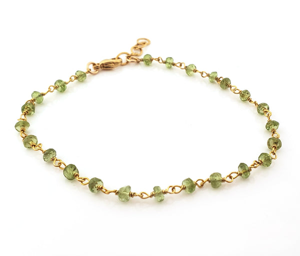 Peridot Bracelet - Gemstone Jewelry - Wire Wrapped - 14k Gold Filled - Gift for Her