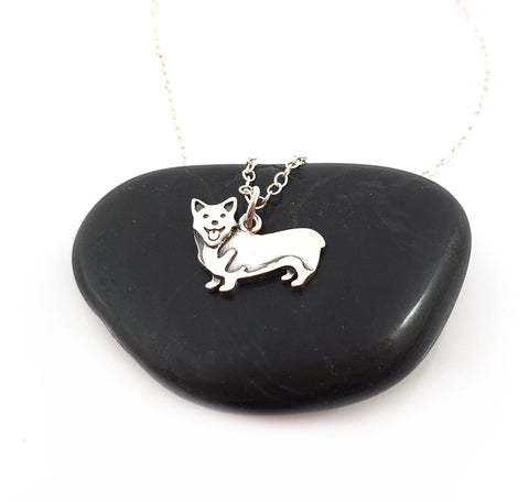 Corgi Dog Charm Necklace - Sterling Silver Jewelry