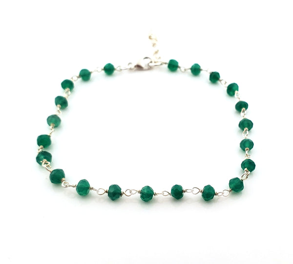 Green Onyx Gemstone Layering Bracelet - Wire Wrapped Chain Bracelet