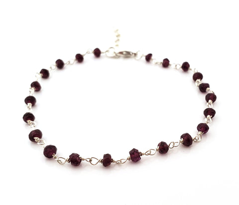 Garnet Gemstone Wire Wrapped Sterling Silver Bracelet
