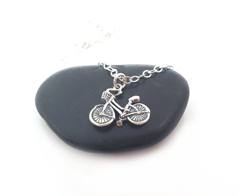 Bicycle Charm Sterling Silver Necklace