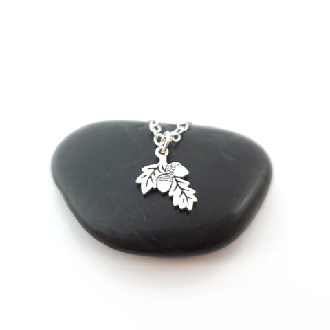 Acorn Oak Leaf 925 Sterling Silver Necklace