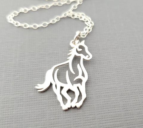Horse Charm Equestrian Sterling Silver Necklace - Gift for Her