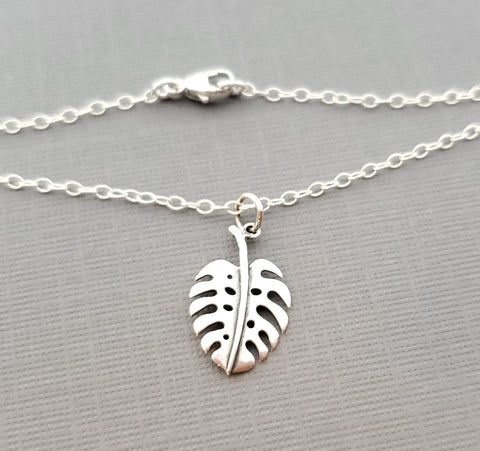 Monstera Delicioso Plant Addict Sterling Silver Necklace - Gift for Her