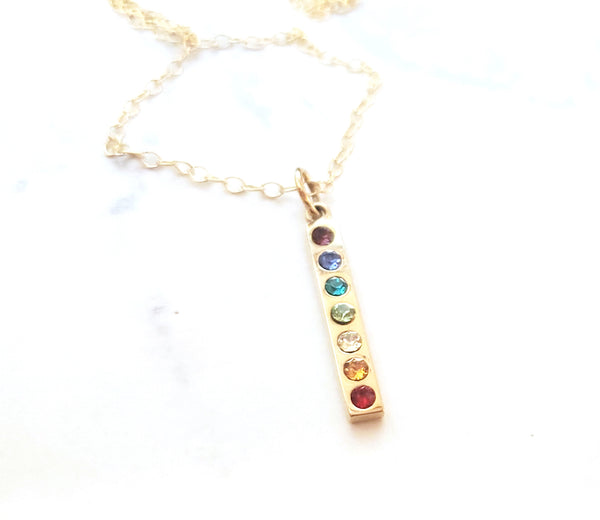 Rainbow Chakra Charm 14k Gold Filled Necklace - Gift for Her