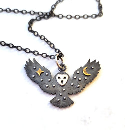 Oxidized Owl with Stars and Moon Sterling Silver Necklace