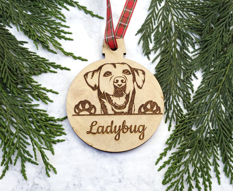 Labrador Retriever Personalized Name Wooden Christmas Ornament - Holiday Gift - Stocking Stuffer