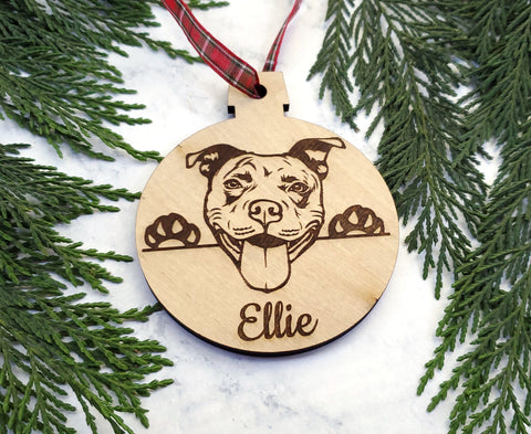 Pit Bull Personalized Name Wooden Christmas Ornament - Holiday Gift - Stocking Stuffer