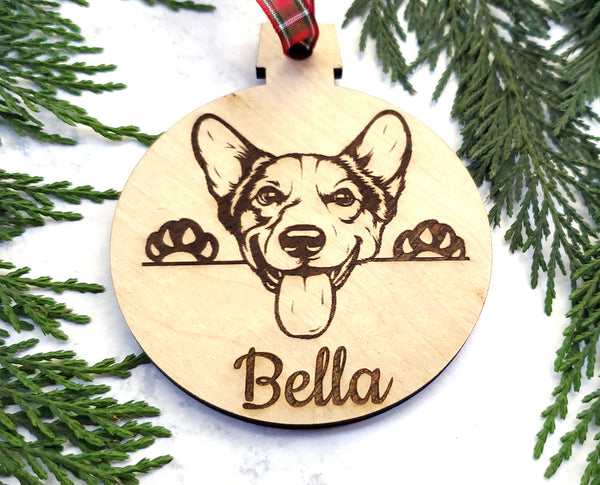Welsh Corgi Personalized Name Wooden Christmas Ornament - Holiday Gift - Stocking Stuffer