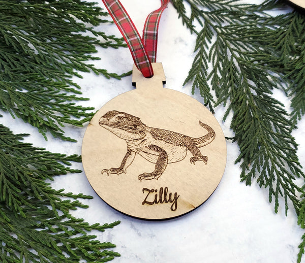 Bearded Dragon Personalized Name Wooden Christmas Ornament - Holiday Gift - Stocking Stuffer