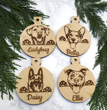 Pug Personalized Name Wooden Christmas Ornament