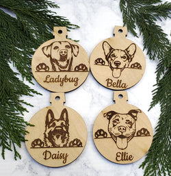 Custom Dog Breed Personalized Name Wooden Christmas Ornament - Holiday Gift - Stocking Stuffer
