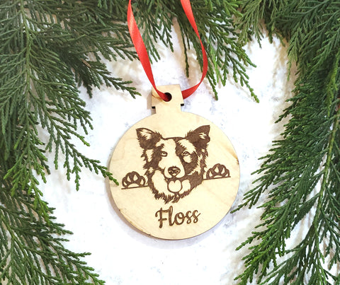 Border Collie Personalized Wooden Christmas Ornament