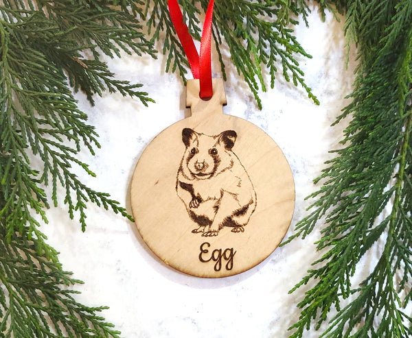 Hamster Personalized Wooden Christmas Ornament