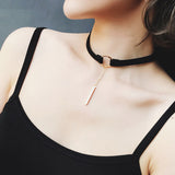 Suede Leather Circle and Bar Lariat Choker