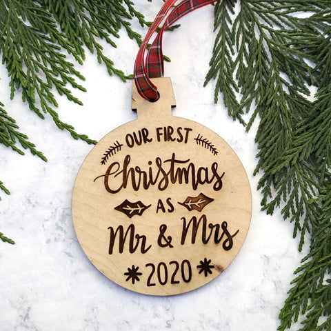 Newlyweds 2020 Wooden Christmas Ornament - Holiday Gift - Stocking Stuffer