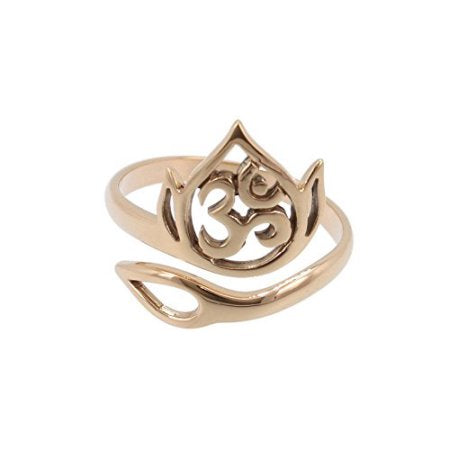 Adjustable Natural Bronze Openwork Lotus and Ohm Ring