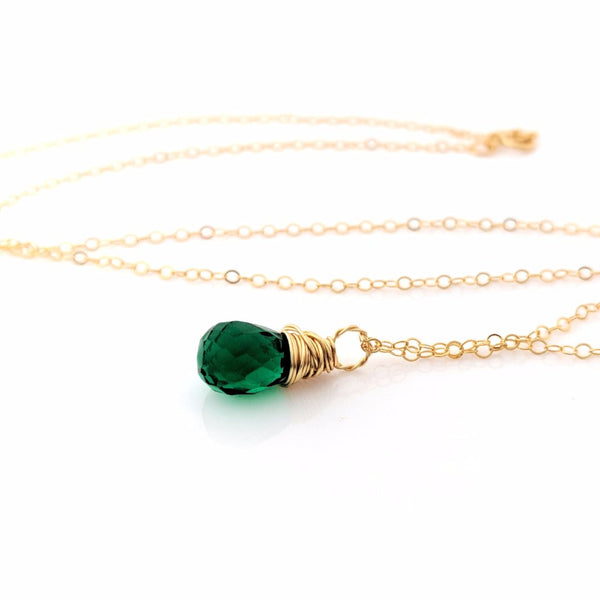 May Birthstone - Emerald Hydro Quartz Gemstone - Wire Wrapped 14k Gold Filled Necklace