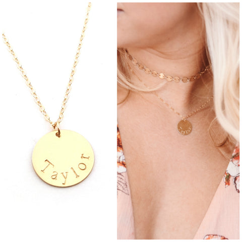 Gold Name Disc Necklace - Personalized Jewelry - Gift For Her