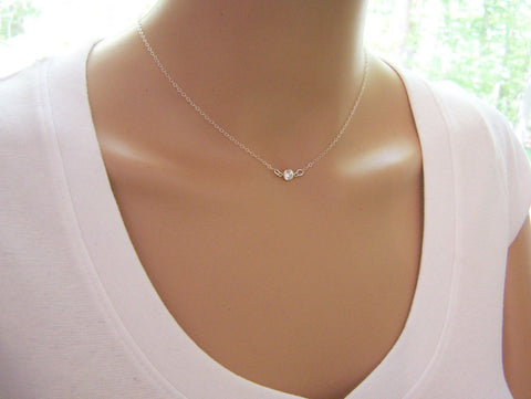 Tiny Diamond Sterling Silver Choker Necklace