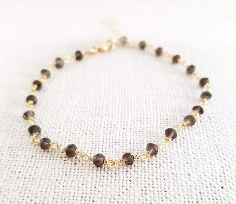 Smoky Quartz Gemstone 14k Gold Filled Bracelet