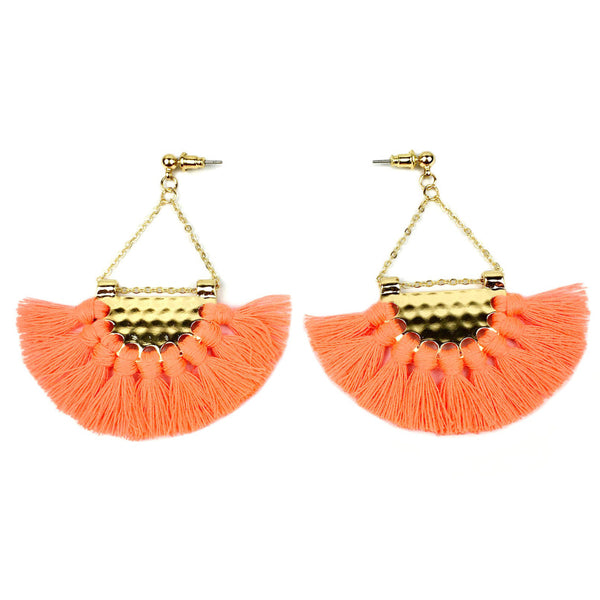 Bohemian Tassel Fan Dangle Statement Earrings