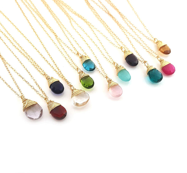 Classic Wire Wrapped Birthstone Briolette Necklace - Dainty Drop Necklace - Gold Necklace - Gemstone Briolette Necklace - Gift for Her