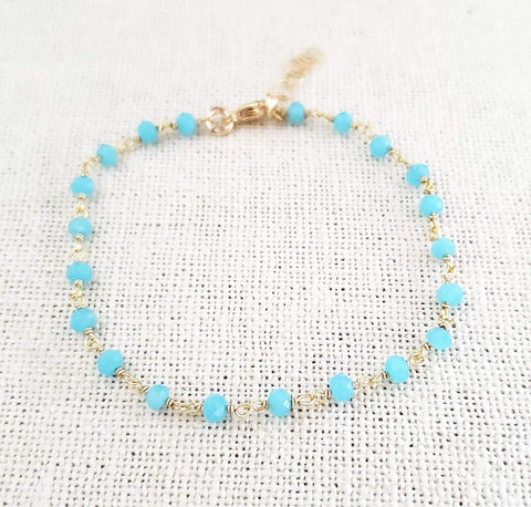 Blue Chalcedony Gemstone 14k Gold Filled Bracelet