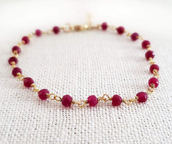 Dyed Ruby 14k Gold Filled Bracelet