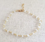 White Moonstone Gemstone 14k Gold Filled Bracelet