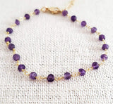 Amethyst Gemstone 14k Gold Filled Bracelet