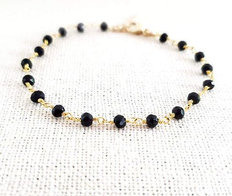 Black Spinel Gemstone 14k Gold Filled Bracelet
