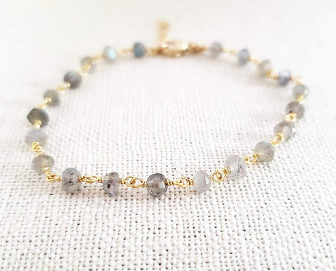 Labradorite Gemstone 14k Gold Filled Bracelet