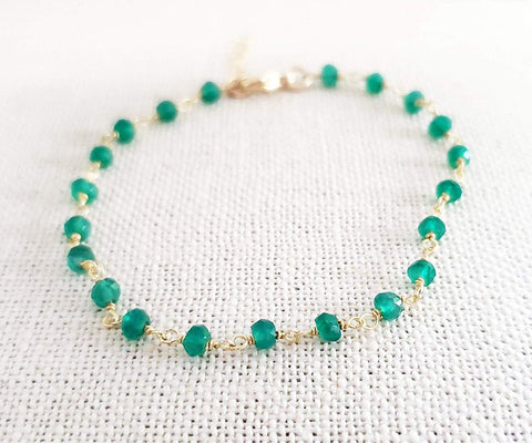 Green Onyx Gemstone 14k Gold Filled bracelet