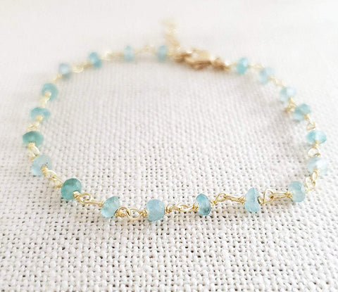 Blue Apatite Gemstone 14k Gold Filled Bracelet