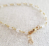 Clear Quartz Gemstone 14k Gold Filled Bracelet